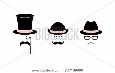 Retro Set Of Simple Vector Icons With Various Moustaches, Top Hat, Bowler Hat, Fedora Hat, Glasses,