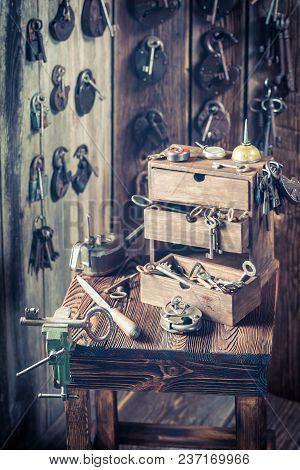 Locksmiths Workshop Full Of Old Keys, Locks