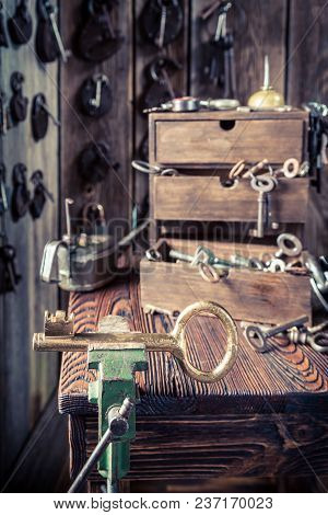 Locksmiths Workshop With Old Keys And Locks