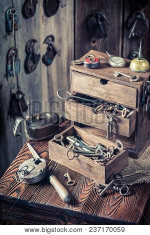 Locksmiths Workshop With Ancient Tools And Locks