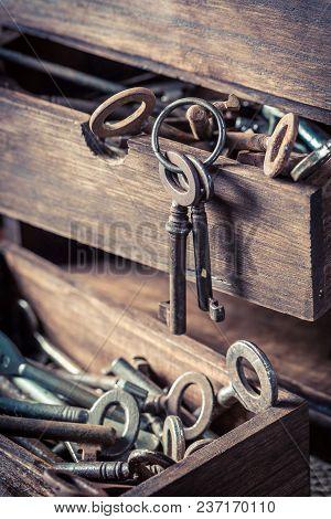 Wooden Box With Keys In Old Locksmiths Workshop