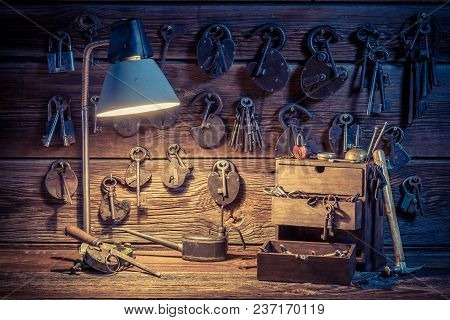 Old Tools, Locks And Keys In Locksmiths Workshop