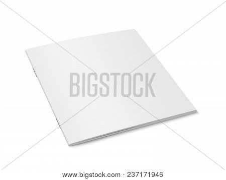 Vector White Mock Up Of Magazine Isolated. Closed Square Paperback Magazine, Brochure, Book Or Noteb