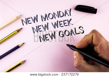 Word Writing Text New Monday New Week New Goals. Business Concept For Next Week Resolutions To Do Li