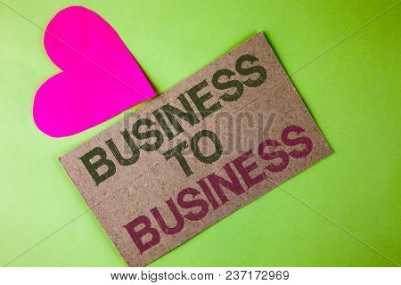 Conceptual Hand Writing Showing Business To Business. Business Photo Text Working Ground Businessman