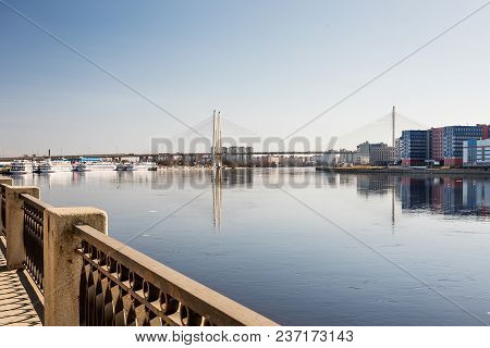Neva River Embankment In St. Petersburg With A View Of The Ships And The Bridge.