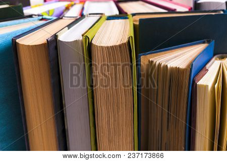 Open Book, Hardback Books On Bright Colorful Background.