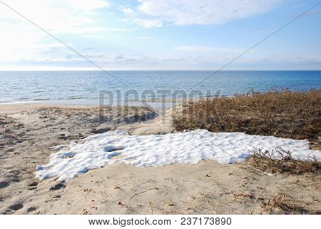 The Last Melting Snow At The Sand Beach By Byrum On The Swedish Island Oland