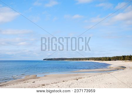 Bay With Beautiful Sand Beach At Byrum On The Swedish Island Oland