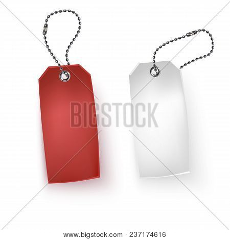 Set Of Realistic Tags Business Blank Retail Card Discount Sale Vector Illustration. Red And White Sa