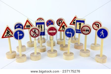 Set Of Road Signs, Different Traffic Signs, Direction Signs Isolated On White Background. Road Safet