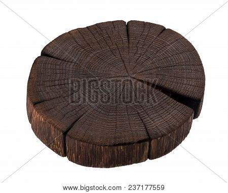 Wooden Stump Isolated On White Background. Dark Wooden Cutting Board. Close Up