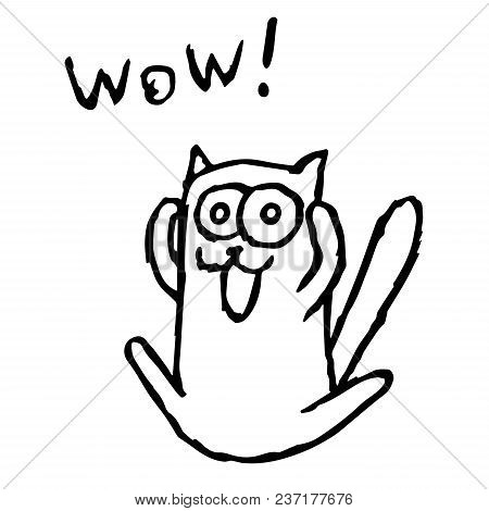 Cute Cat Tik Enjoys And Screaming. Vector Illustration. Cartoon Animal Character.
