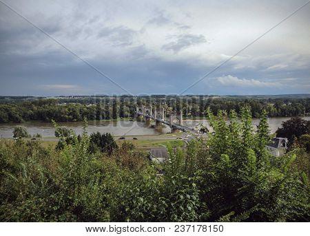 Suspension Bridge Over Loire - Langeais - France, Summer