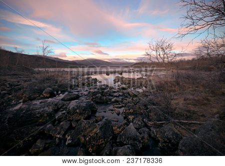 Evening Sky And Sunset Over The River, Finland, Natural Park Kilpisjarvi