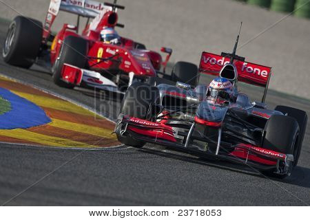 VALENCIA, SPAIN - FEBRUARY 3: F1 Test - first car Jenson Button and 2nd Alonso - on February 3, 2010 in Cheste, Valencia, Spain