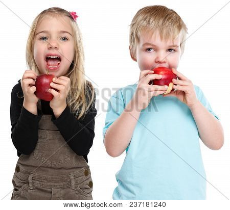 Children Kids Eating Apple Fruit Autumn Fall Healthy Isolated On White