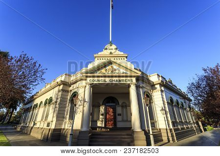 Wagga Wagga, Australia - March 20, 2018:  View Of The Historic 1881 Council Chambers Building In The