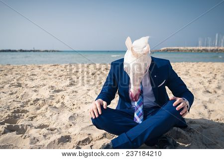 Stylish Traveler On Vacation In A Suit Sits On The Beach. Unicorn With Horn Sits On The Sand With He
