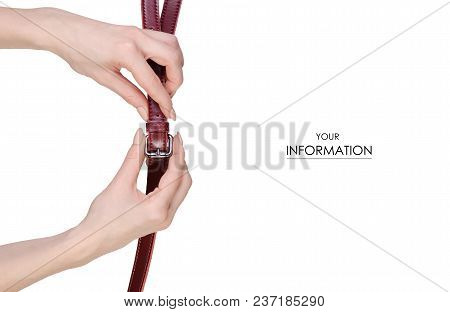 Red Belt To A Female Bag In Hand Pattern On A White Background Isolation
