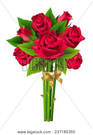 Realistic Vector Illustration Of Rose Bunch. Bouquet, Present, Dating. St. Valentine Day Concept. Fo