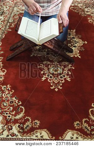 Muslim Man Reading Islamic Holy Book Quran