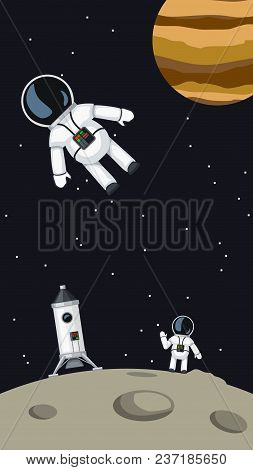 Illustration Of Cartoon Astronauts With Spaceship On Moon Surface