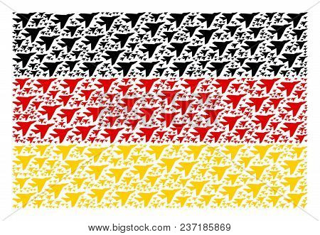German State Flag Concept Combined Of Airplane Intercepter Design Elements. Vector Airplane Intercep