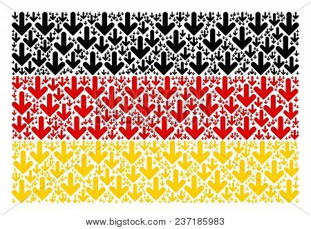 Germany Flag Composition Constructed Of Arrow Down Pictograms. Vector Arrow Down Icons Are United In