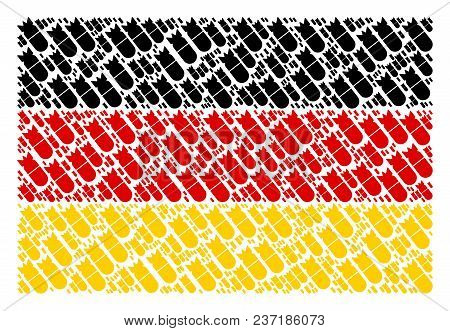 Germany State Flag Mosaic Constructed Of Aviation Bomb Pictograms. Vector Aviation Bomb Items Are Co