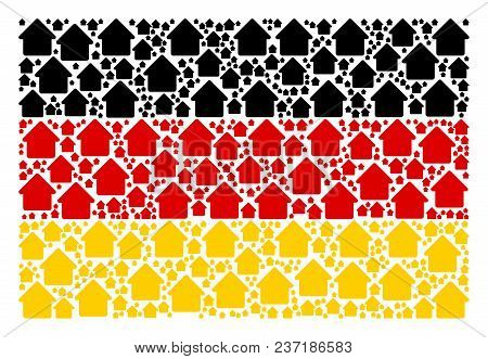 Germany Flag Mosaic Made Of Cabin Design Elements. Vector Cabin Design Elements Are United Into Conc