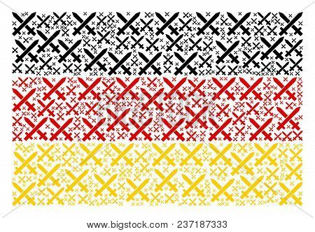 Germany Flag Concept Constructed Of Crossing Swords Icons. Vector Crossing Swords Icons Are Composed