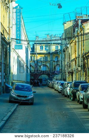 St. Petersburg, Russia - April, 15, 2018: the image of a cars parking on the street in St. Petersburg