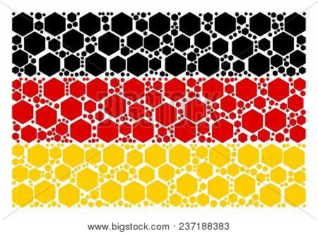 Germany Flag Mosaic Designed Of Filled Hexagon Icons. Vector Filled Hexagon Pictograms Are Combined