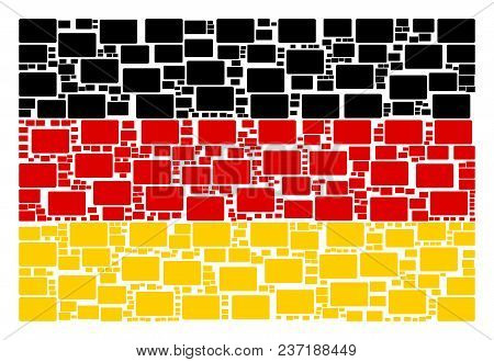 German Flag Pattern Combined Of Filled Rectangle Elements. Vector Filled Rectangle Items Are United