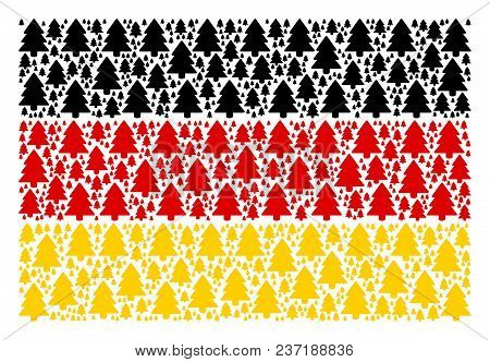 German Flag Collage Combined Of Fir-tree Icons. Vector Fir-tree Elements Are Composed Into Mosaic Ge