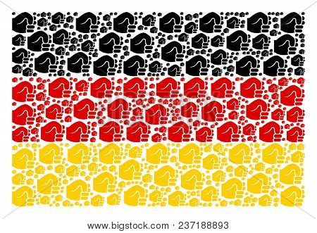 German Flag Composition Designed Of Fist Pictograms. Vector Fist Pictograms Are Organized Into Geome