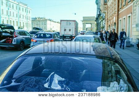 St. Petersburg, Russia - April, 15, 2018:  traffic on the street of St. Petersburg