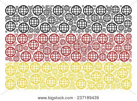 German Flag Concept Designed Of Globe Pictograms. Vector Globe Pictograms Are Composed Into Geometri