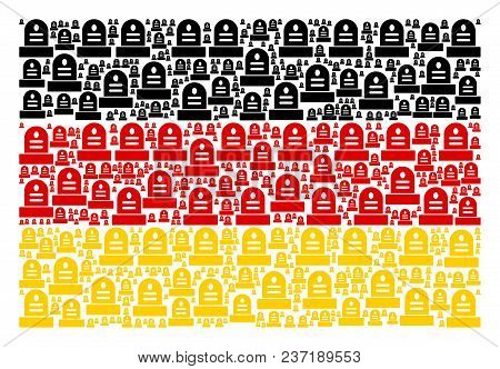 German Flag Pattern Composed Of Grave Pictograms. Vector Grave Icons Are United Into Mosaic German F