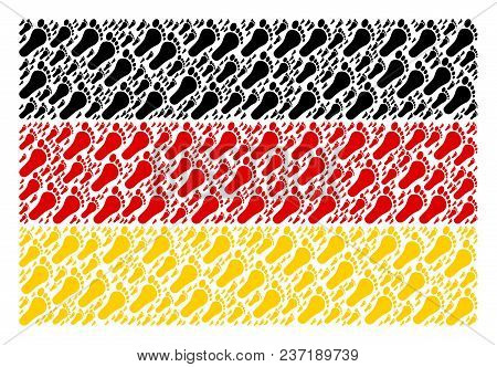 Germany State Flag Composition Composed Of Human Footprint Icons. Vector Human Footprint Design Elem