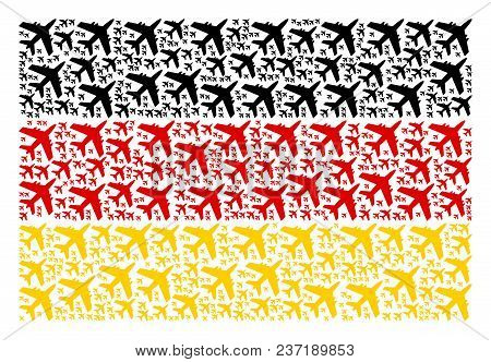 German Flag Collage Designed Of Jet Plane Pictograms. Vector Jet Plane Pictograms Are United Into Mo