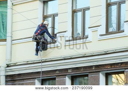 St. Petersburg, Russia - April, 15, 2018: Steeplejack works in St. Petersburg