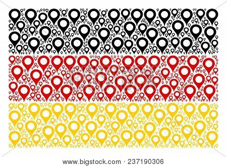 Germany Flag Collage Constructed Of Map Marker Icons. Vector Map Marker Pictograms Are Organized Int