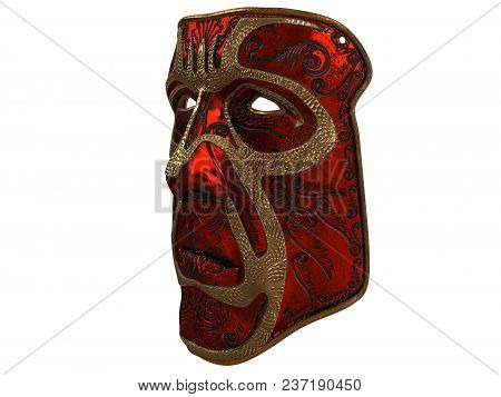 Red Iron Mask With Ornament And Gold Bevels . 3d Illustration