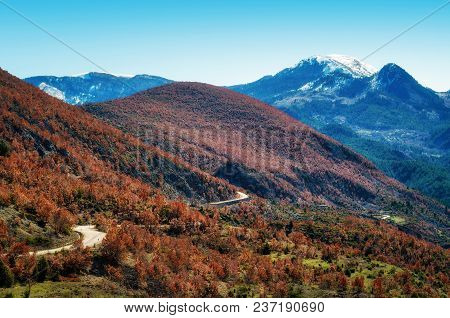 Windy Road In The Albanian Alps