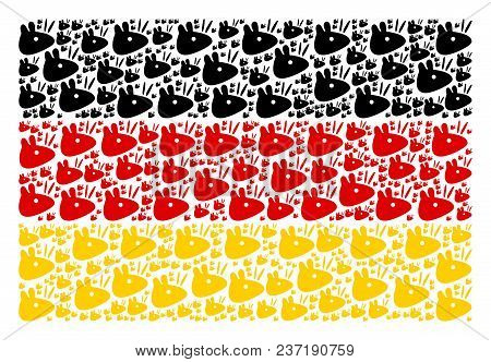 Germany Flag Mosaic Created Of Mouse Head Pictograms. Vector Mouse Head Design Elements Are United I
