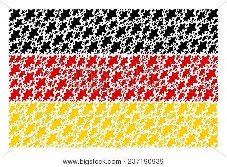 Germany Flag Collage Organized Of Oak Leaf Pictograms. Vector Oak Leaf Icons Are United Into Concept