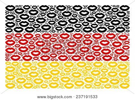 Germany Flag Mosaic Designed Of Sexy Lips Icons. Vector Sexy Lips Icons Are United Into Mosaic Germa
