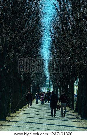 St. Petersburg, Russia - April, 15, 2018: People walking on city avenue